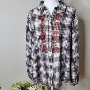 Knox Rose button down Embroidered flannel- XXL